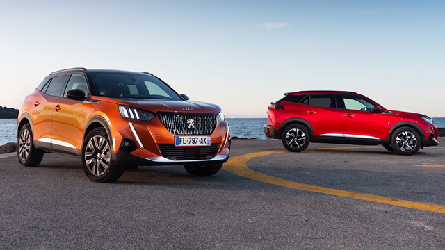 2021 Peugeot 2008 in orange and red