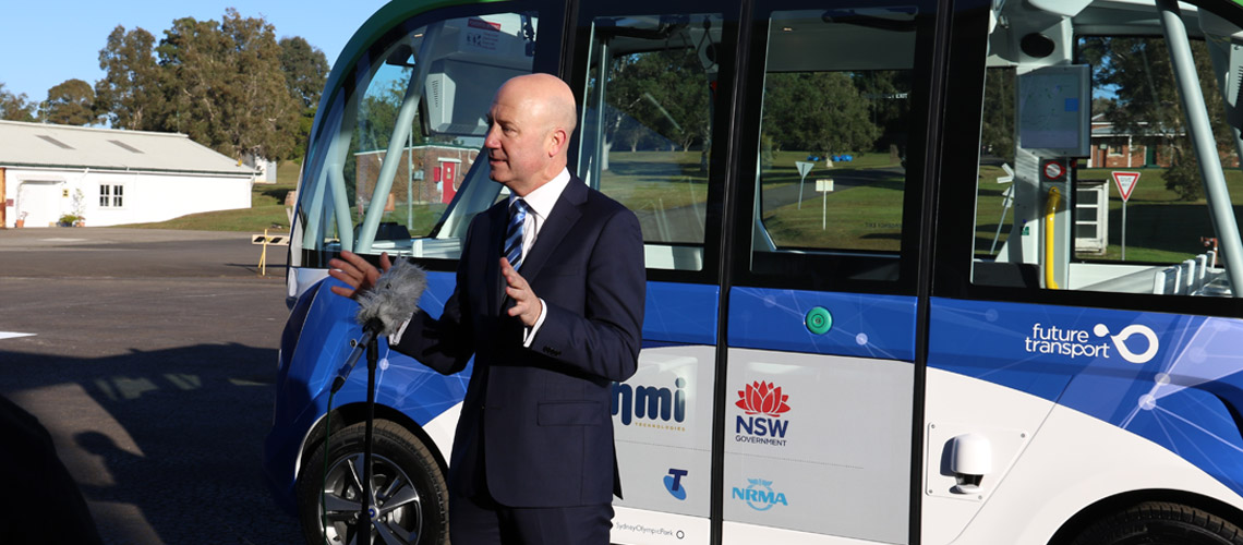 NRMA Presdient Kyle Loades talks to media about AVs