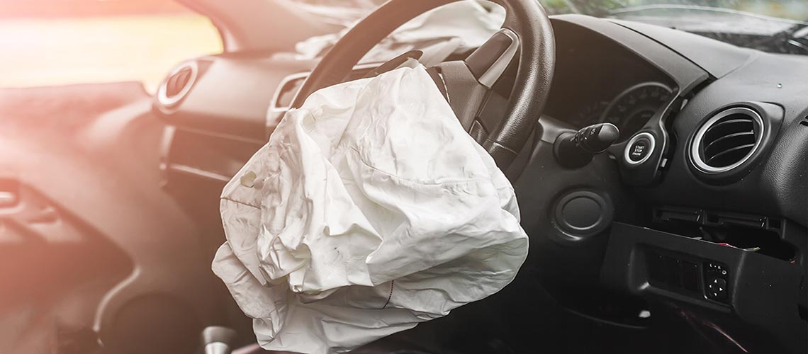 Airbag deflated in car