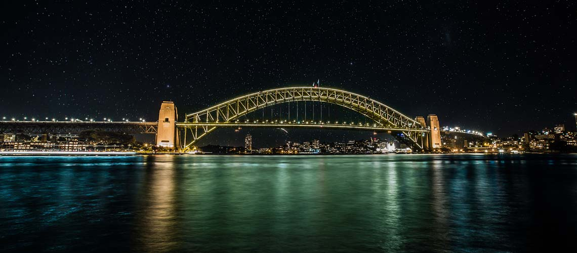 Harbour Bridge lit up for Yellow Ribbon Week