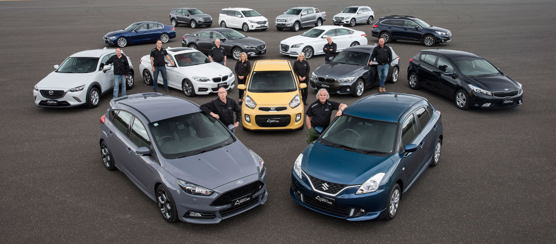 Judges standing with the winning cars at the 2016 Australia's Best Cars awards