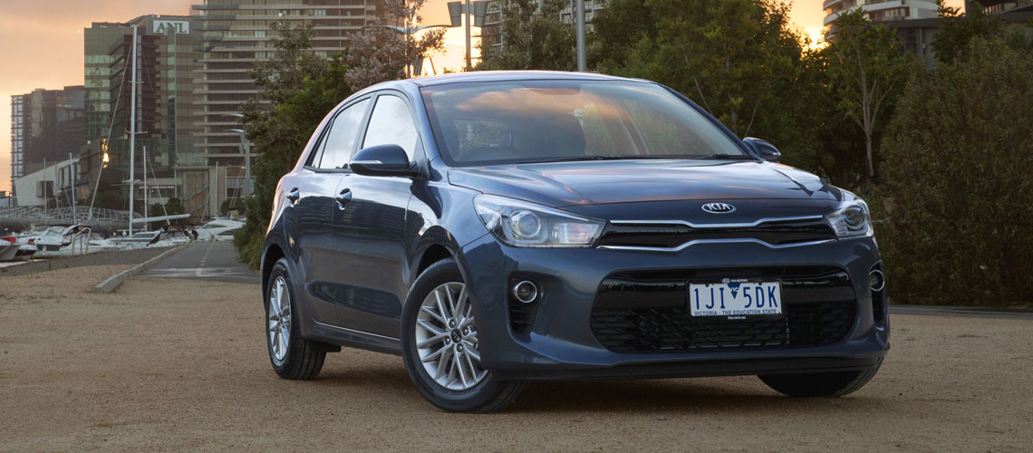 Exterior of a grey 2017 Kia Rio
