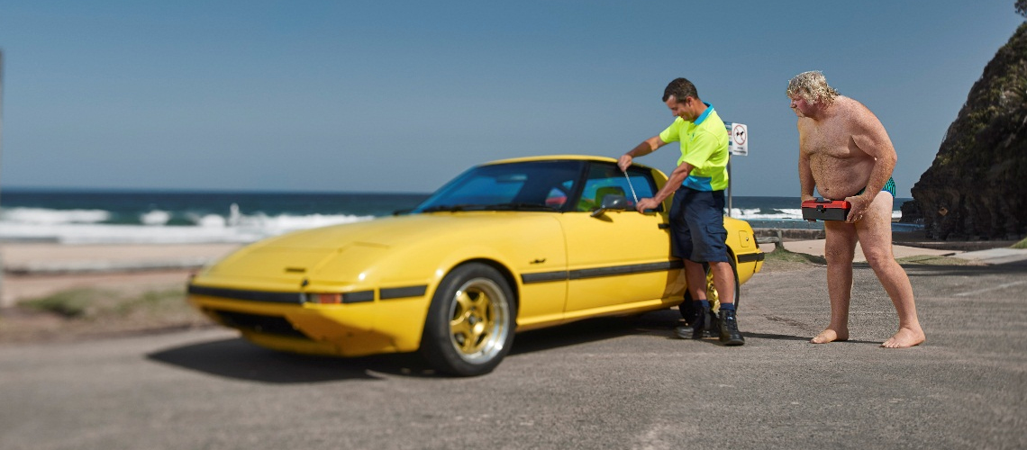 Yellow Mazda RX7 key lockout
