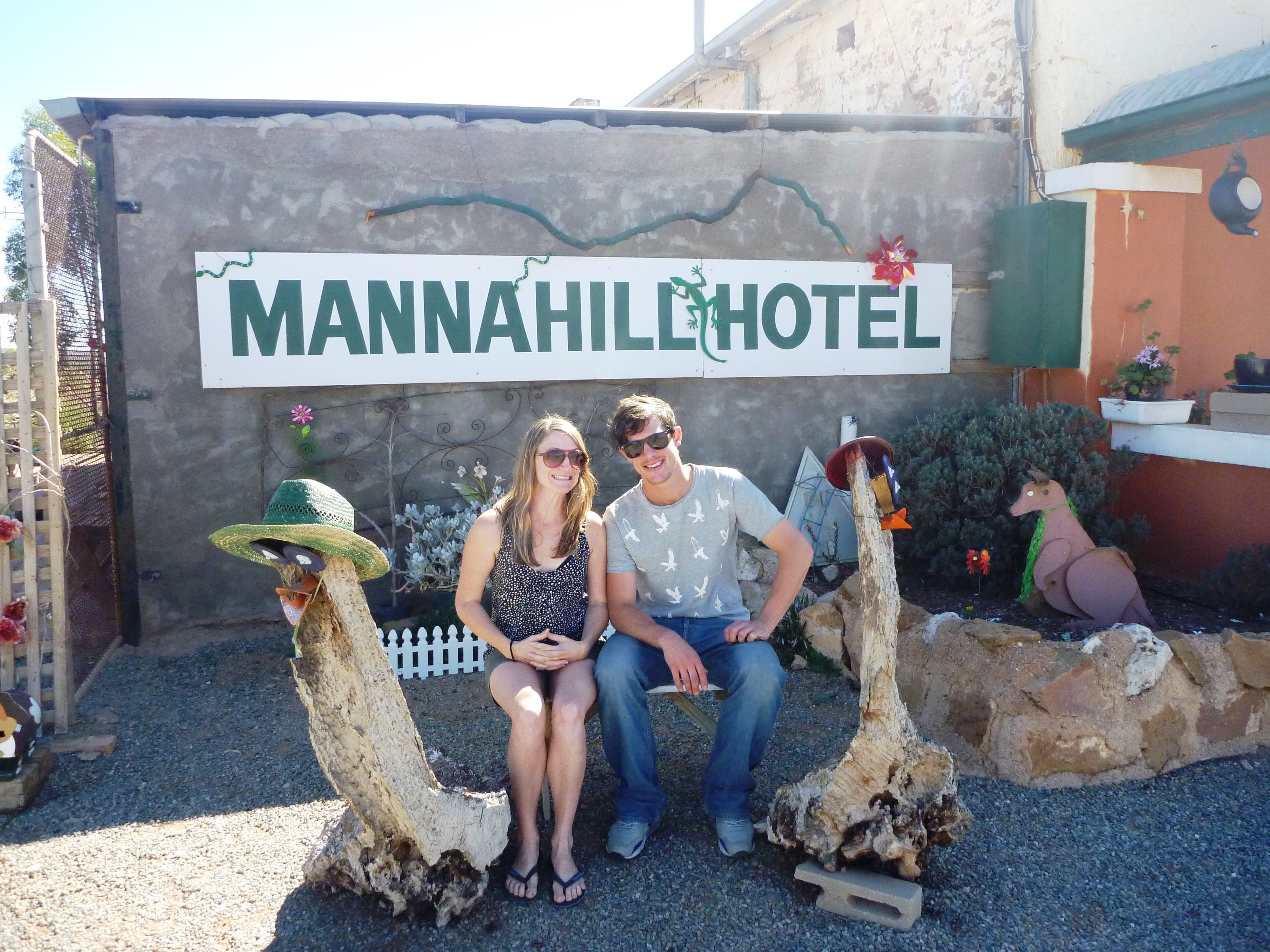 Michelle outside Manna Hotel - Road Trip Tales