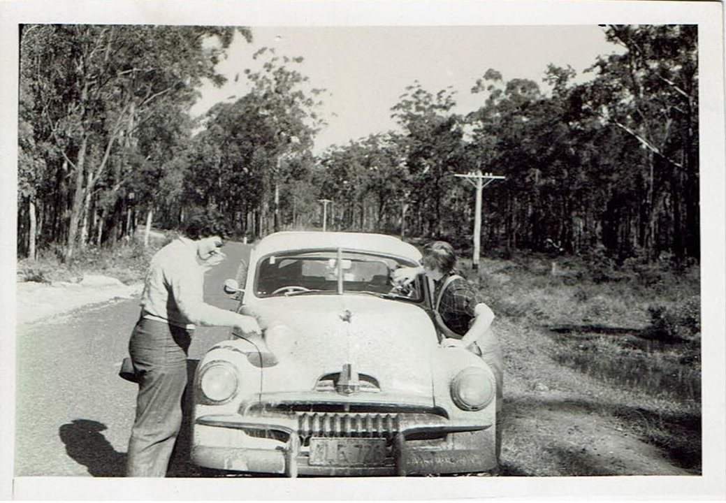 Sue's 1954 road trip - Washing the car out of Maclean