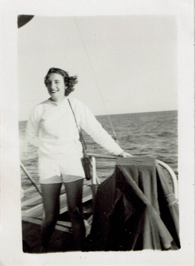 Sue's 1954 road trip - Sue on trip to reef from Magnetic Island