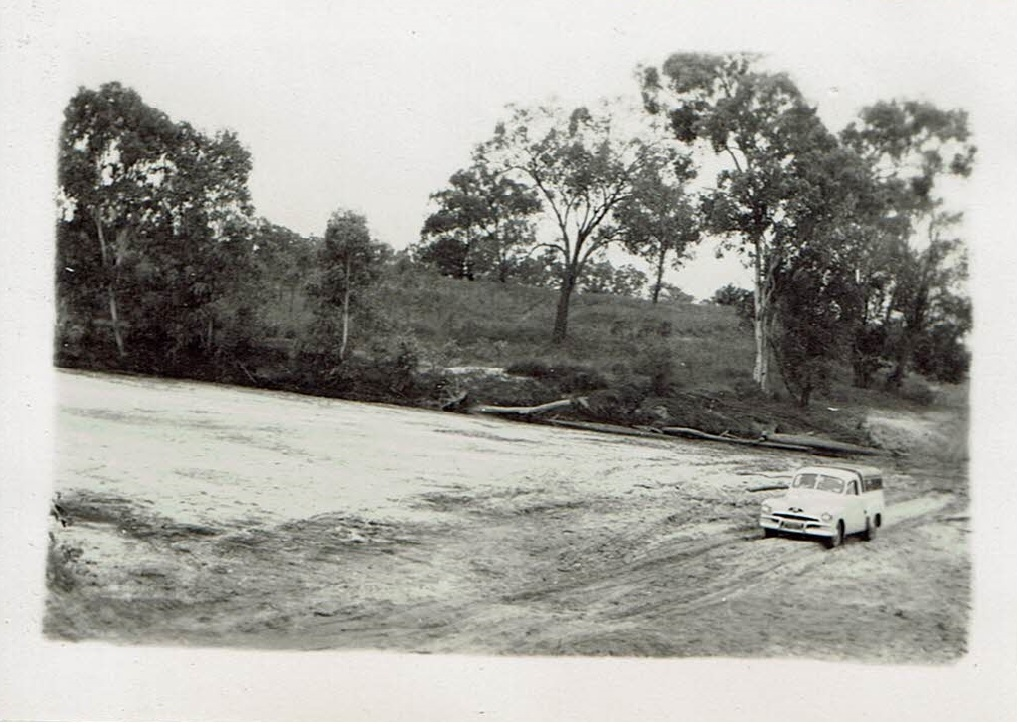 Sue's 1954 road trip - On the highway near Pentland Qld