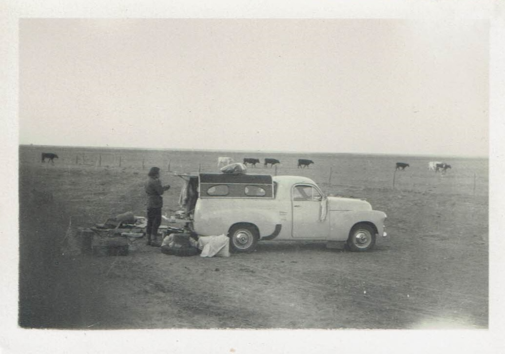 Sue's 1954 road trip - Camping at a bore in Western Queensland