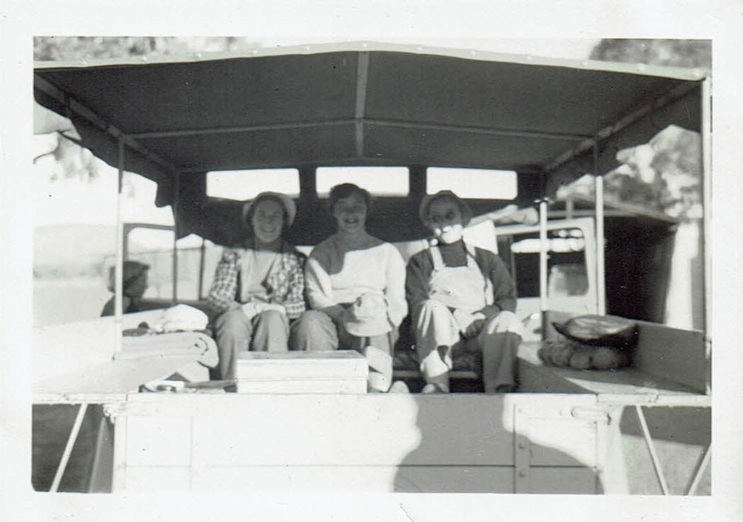Sue's 1954 road trip - We three in the back of a jeep on a tour to Palm Valley from Alice Springs