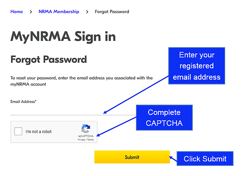 NRMA reset your password