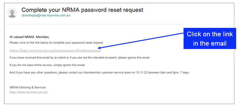 NRMA password reset email