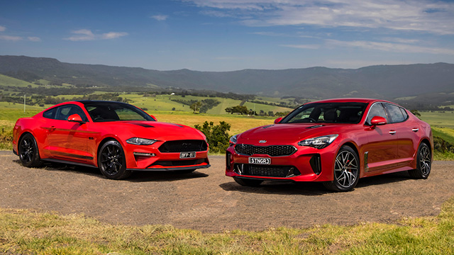 Ford Mustang GT and Kia Stinger 330S