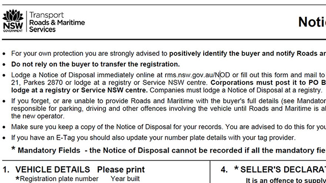 NSW notice of disposal