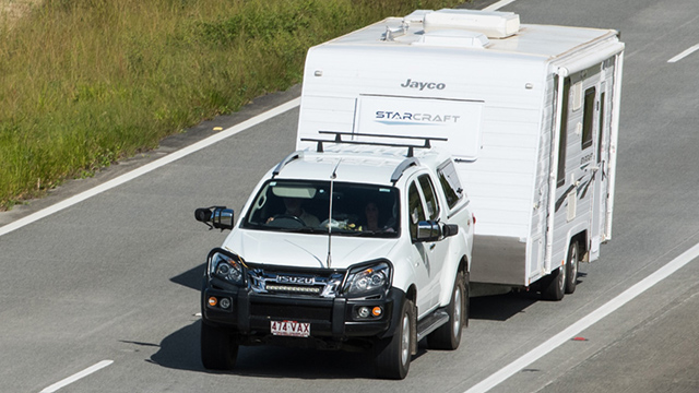 SUV towing a caravan