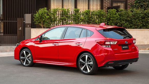 2017 Subaru Impreza S red rear