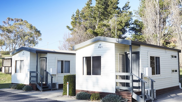 Kosi Deluxe Cabin Exterior Jindabyne Holiday Park NRMA Holiday Parks and Resorts NSW