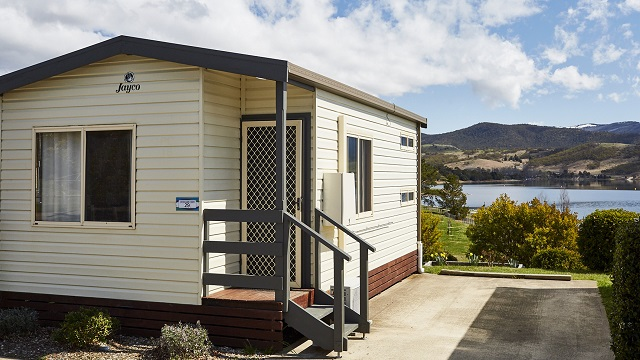 Snow Gum Cabin Exterior Two Jindabyne Holiday Park NRMA Holiday Parks and Resorts NSW