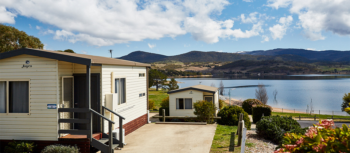 Cabin with water view Jindabyne Holiday Park NSW my nrma local guides
