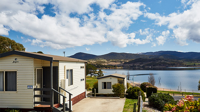 Cabin overlooking water Jindabyne Holiday Park NSW my nrma local guides