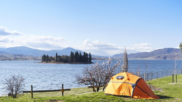 Pitched tent by water Jindabyne Holiday Park NSW my nrma local guides