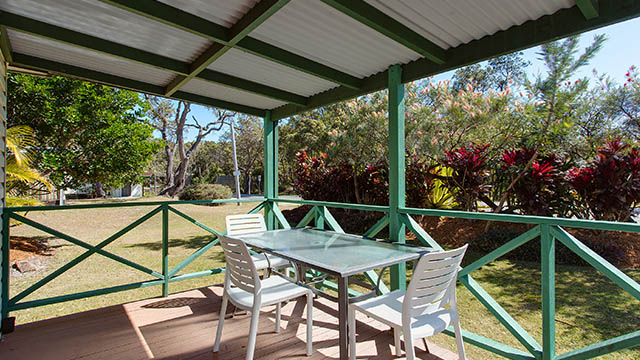 Outdoor dining table Grassy Heads Holiday Park NSW my nrma local guides