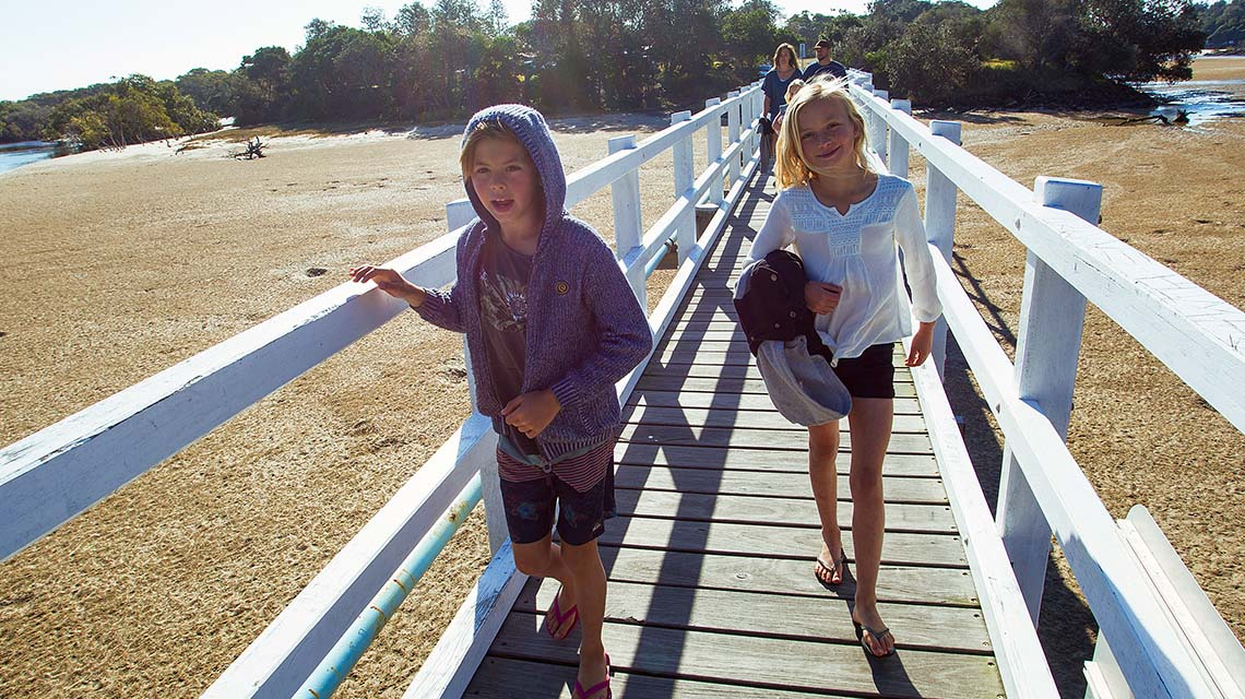 Children on pier Hat Head Holiday Park NSW my nrma local guides