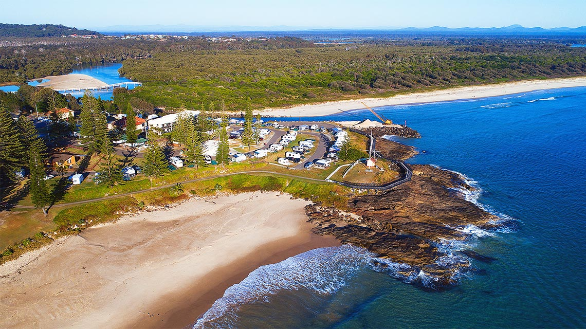 Aerial view Horseshoe Bay Holiday Park NSW my nrma local guides