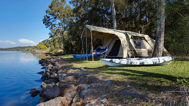 Tent by river Stuarts Point Holiday Park my nrma local guides