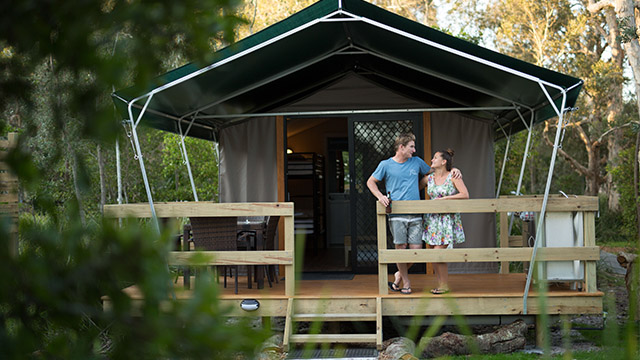 Couple safari tent Myall Shores Holiday Park my nrma local guides