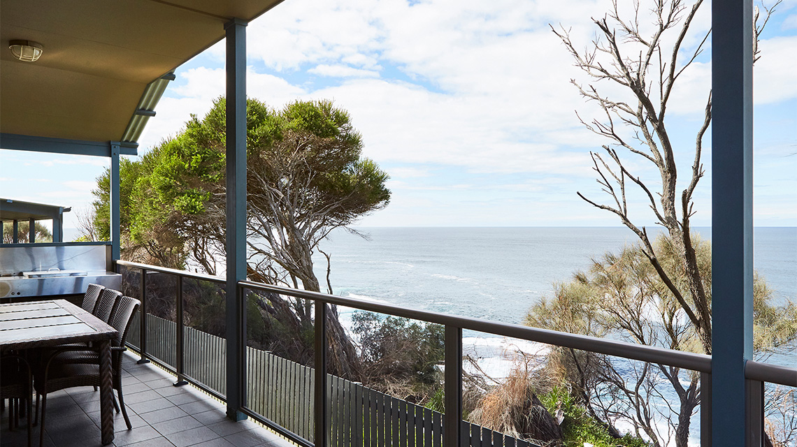Porch View Cliff Top Ocean Condo Merimbula Holiday Park NRMA Holiday Parks and Resorts NSW