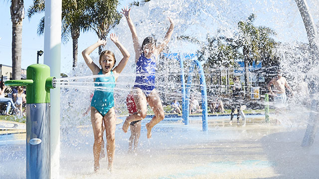 kids at waterpark NRMA Merimbula Beach Holiday Resort NSW my nrma local guides