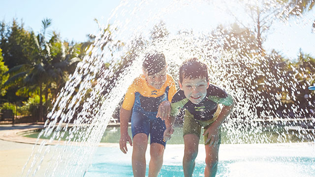 kids in waterpark NRMA Murramarang Beachfront Holiday Resort NSW my nrma local guides
