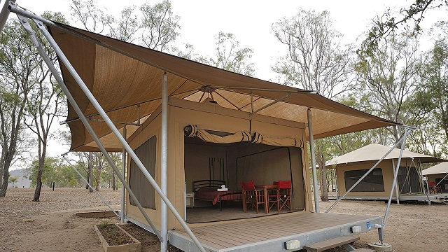 Safari Tent Exterior Lake Somerset Holiday Park NRMA Holiday Parks and Resorts QLD