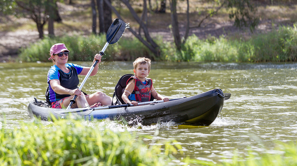 Kayaking Lake Somserset Holiday Park NRMA Parks and Resorts QLD