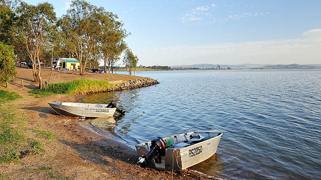Boats on lake Lake Somerset Holiday Park QLD my nrma local guides