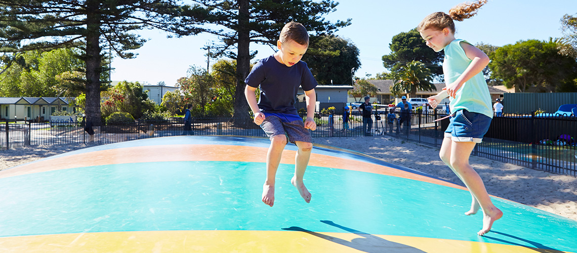 Children Jumping Victor Harbour Holiday Park my nrma parks and resorts SA