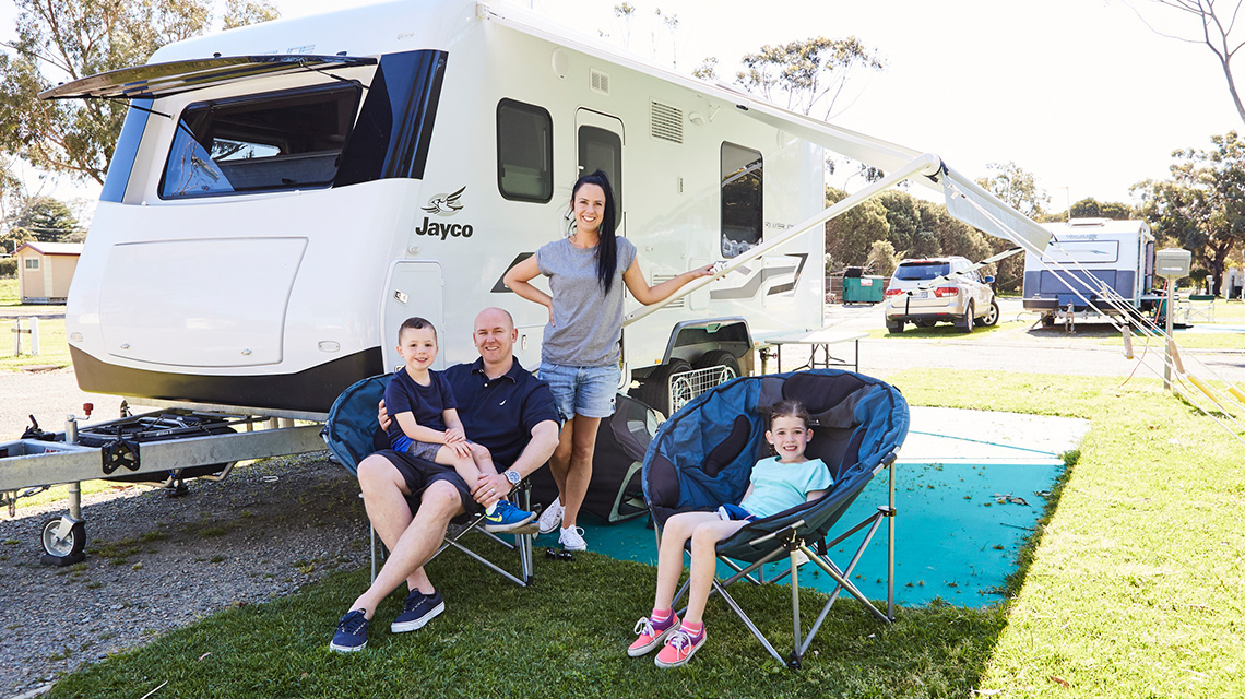 Family Relaxing Near Caravan Victor Harbour Beachfront Holiday Park NRMA Parks and Resorts SA