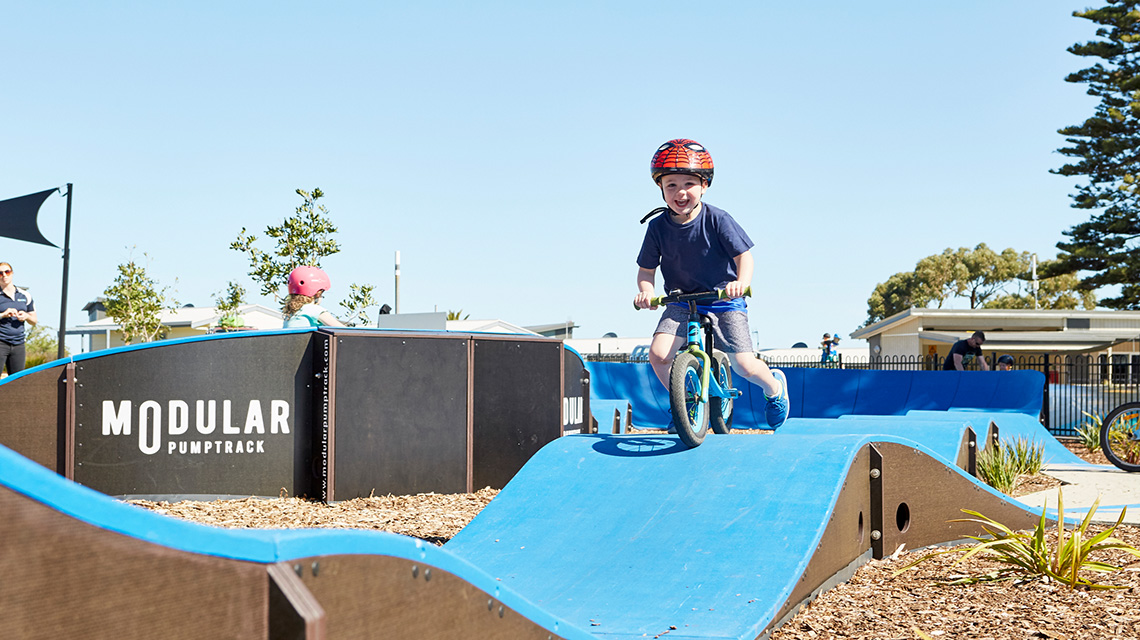 Kid on Track Victor Harbour Beachfront Holiday Park NRMA Parks and Resorts SA