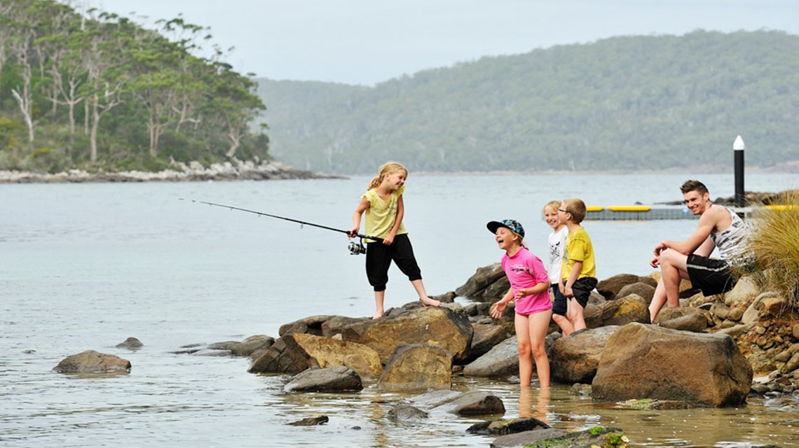 children fishing Port Arthur TAS my nrma local guides