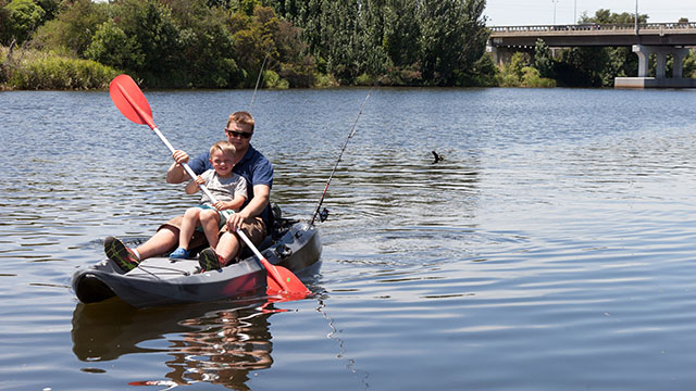 family kayaking Bairnsdale Riverside Holiday Park Victoria my nrma local guides