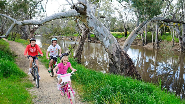 Children on Bikes Echuca Holiday Park NRMA Parks and Resorts VIC