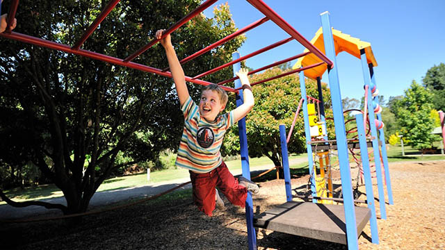 child on monkey bars NRMA Bright Holiday Park Victoria my nrma local guides