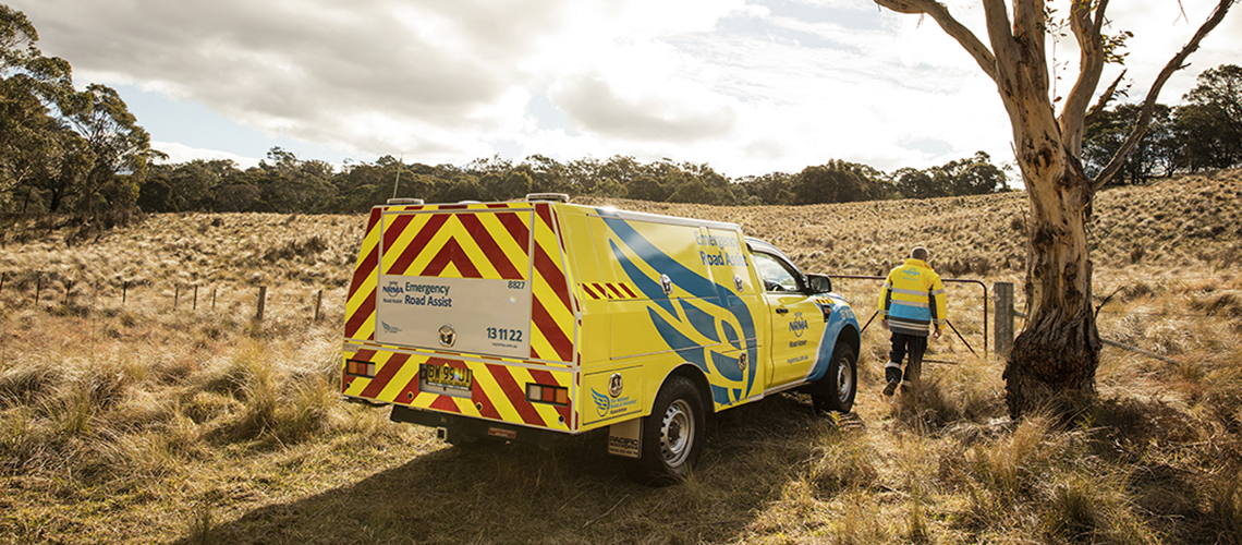 NRMA patrolman on a farm