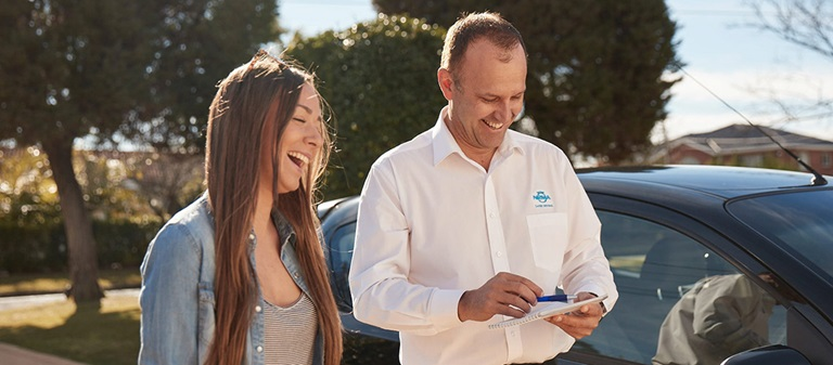 Woman having a driving lesson with an NRMA instructor