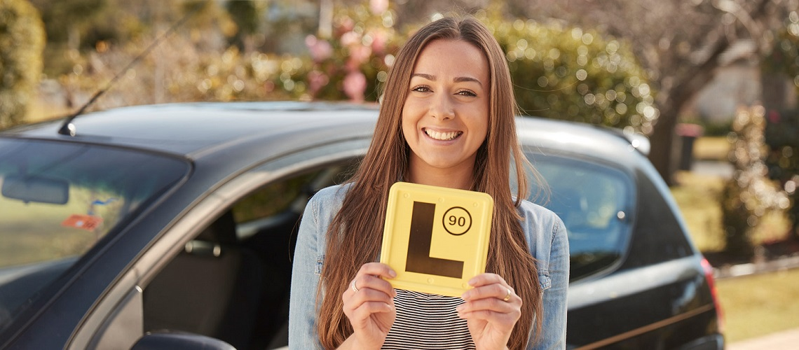 Girl with L plates