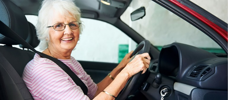 Elderly lady driving