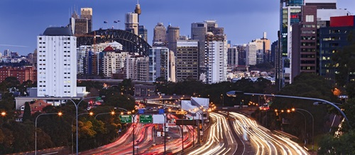 North Sydney freeway at night