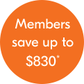 Members save up to $830 per couple