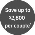 Save up to $2800 per couple